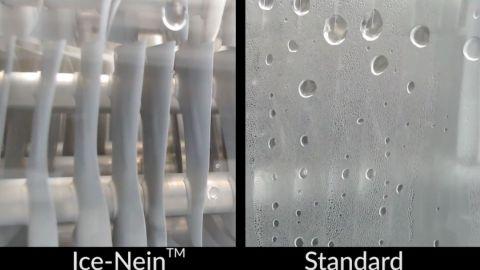 Refrigerator made using Ice-NTM material (Left) vs. Refrigerator made using standard materials (Right)